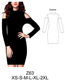 Vestido negro corto hombro descubierto
